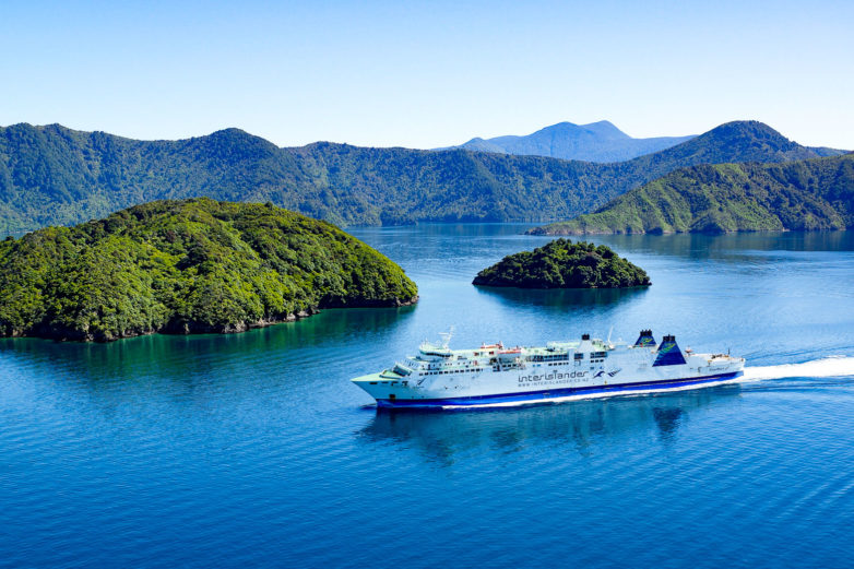 Interislander travelling through Marlborough Sounds