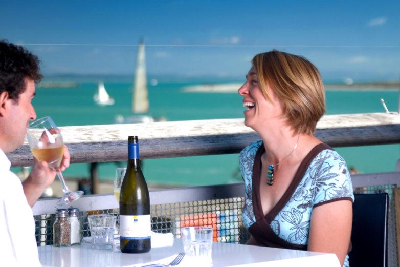 Enjoying dinner and wine, Nelson