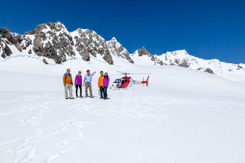 Fox Glacier snow landing