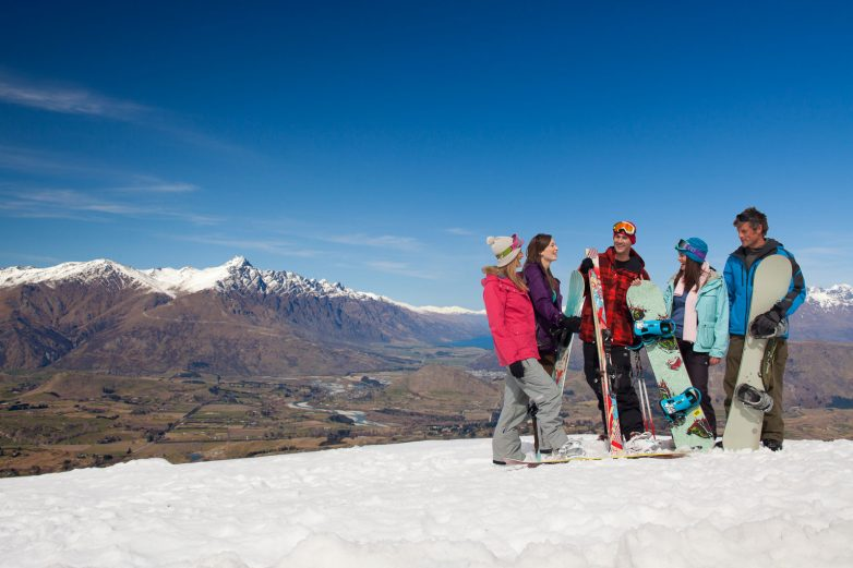 Friends snowboarding, Coronet Peak Ski Area
