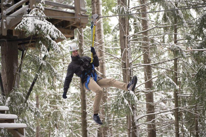 Ziptrek Ecotours man zipping in winter
